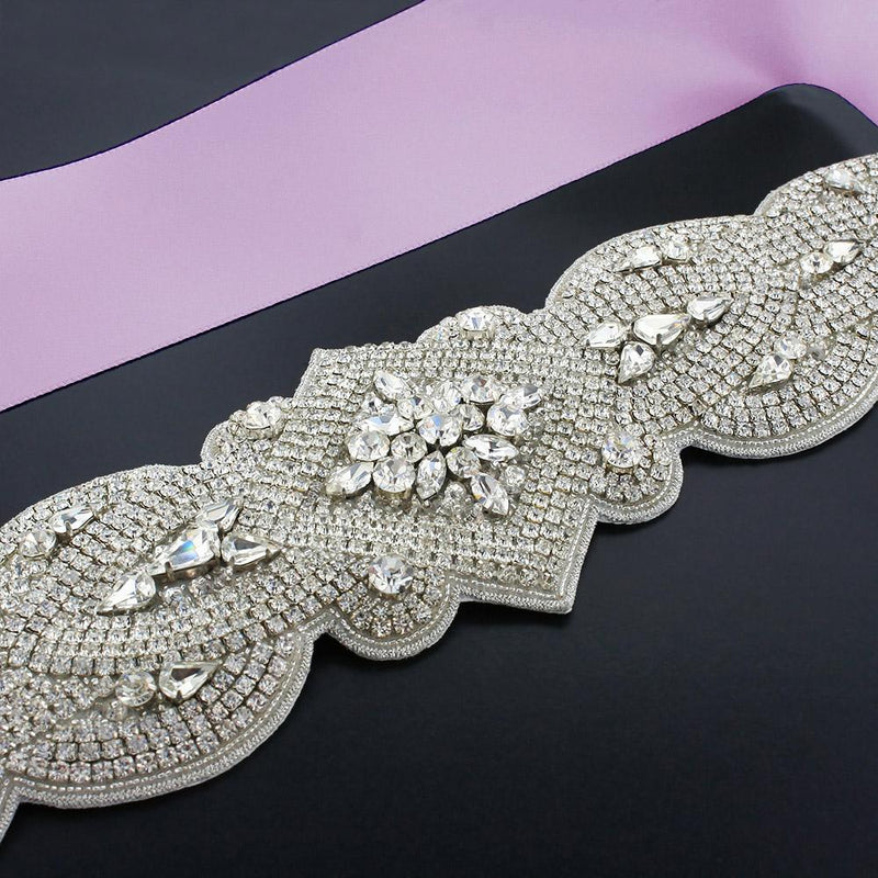 Wide Rhinestone Bridal Sash - thistle