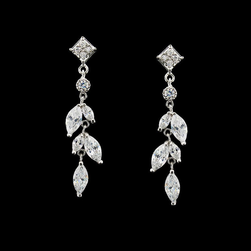 Drop Earrings with Marquise Stones