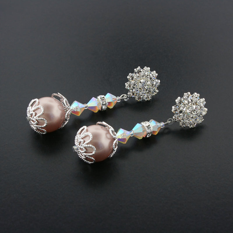 powder almond swarovski pearl earrings - HOL581E-F