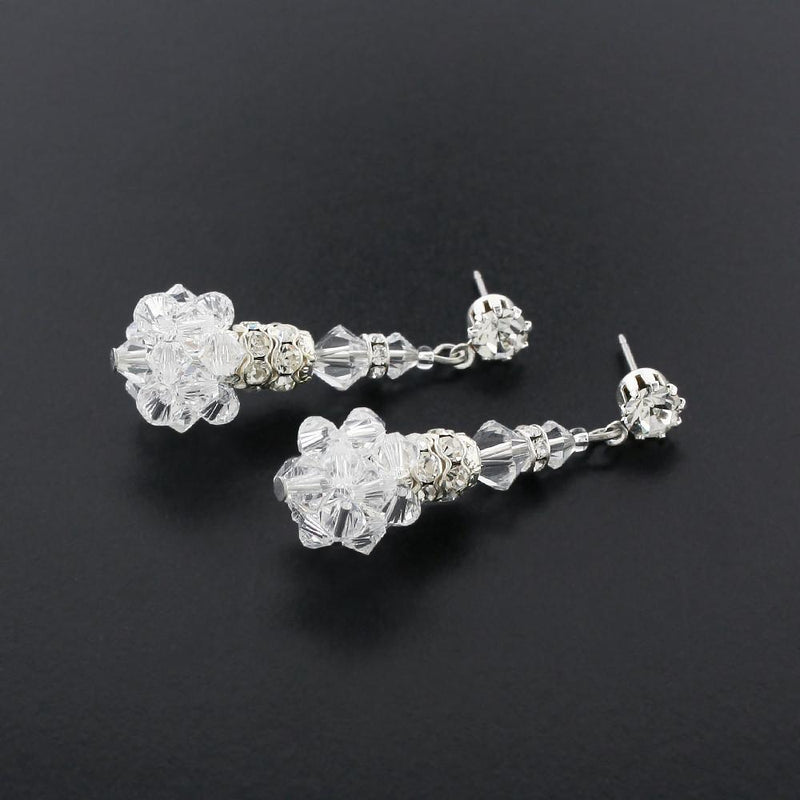 Crystal Drop Earrings with Cluster