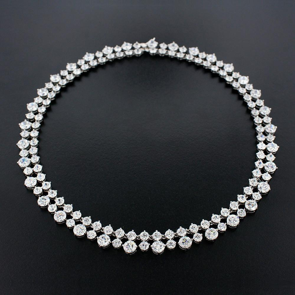 Dramatic Two Row CZ Necklace