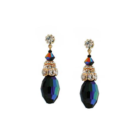 Iridescent Black Melon Crystal Earrings