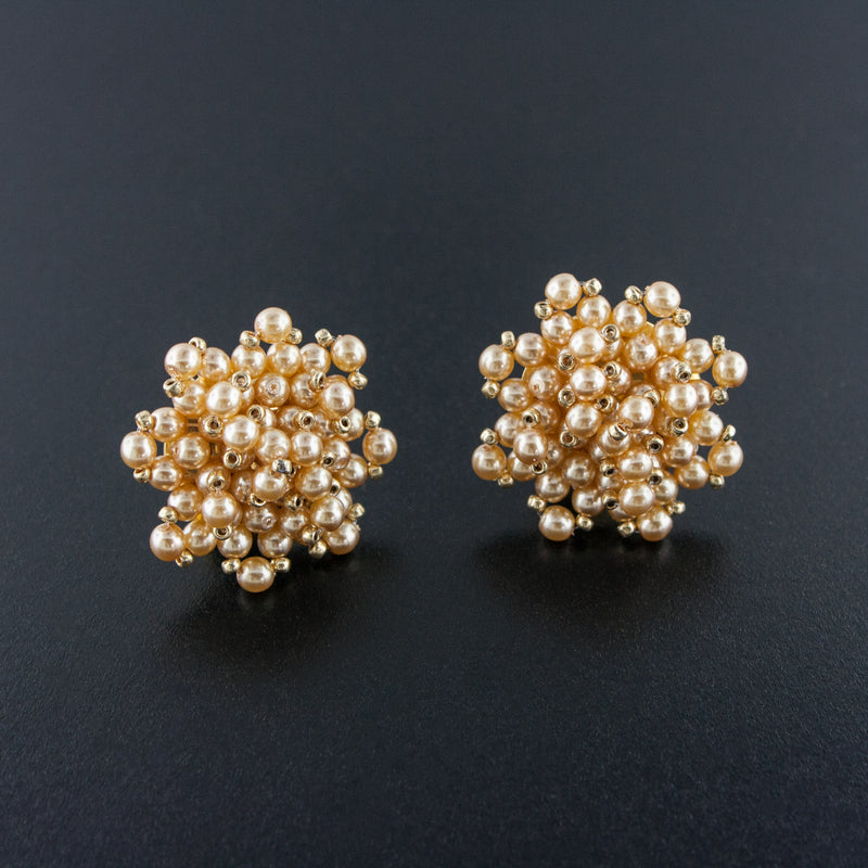 Woven Cluster Pearl Earrings