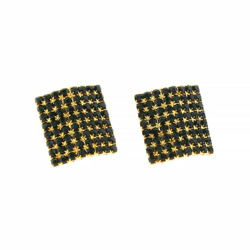 Square Black Crystal Earrings