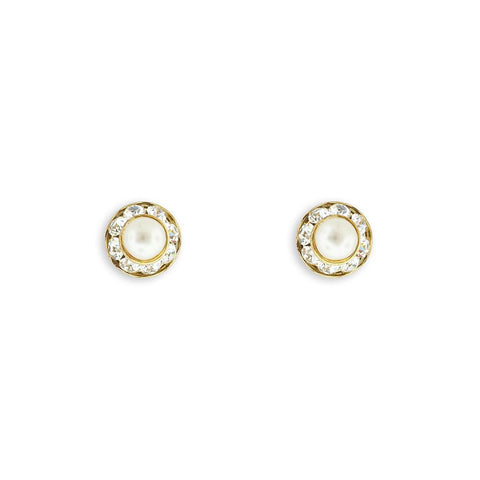 Pearl Stud Earrings with Crystal Edge