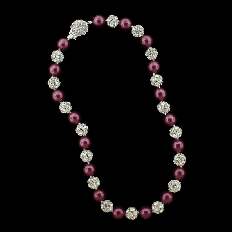 Garnet pearl and silver rhinestone bead necklace