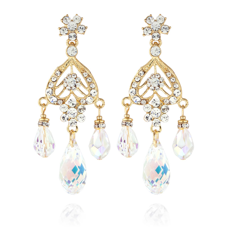 Briolette Chandelier Earrings - AB, Gold