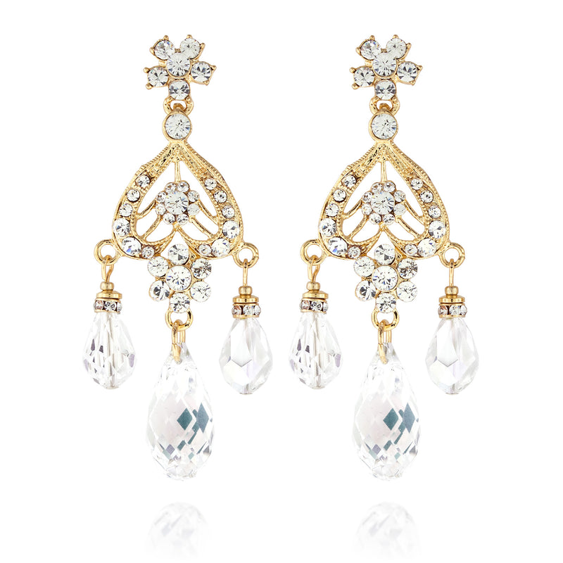 Briolette Chandelier Earrings - Clear, gold