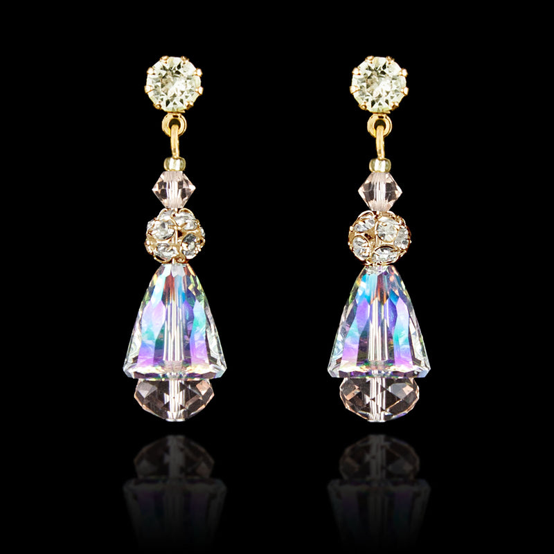 Iridescent Crystal Drop Earrings - gold