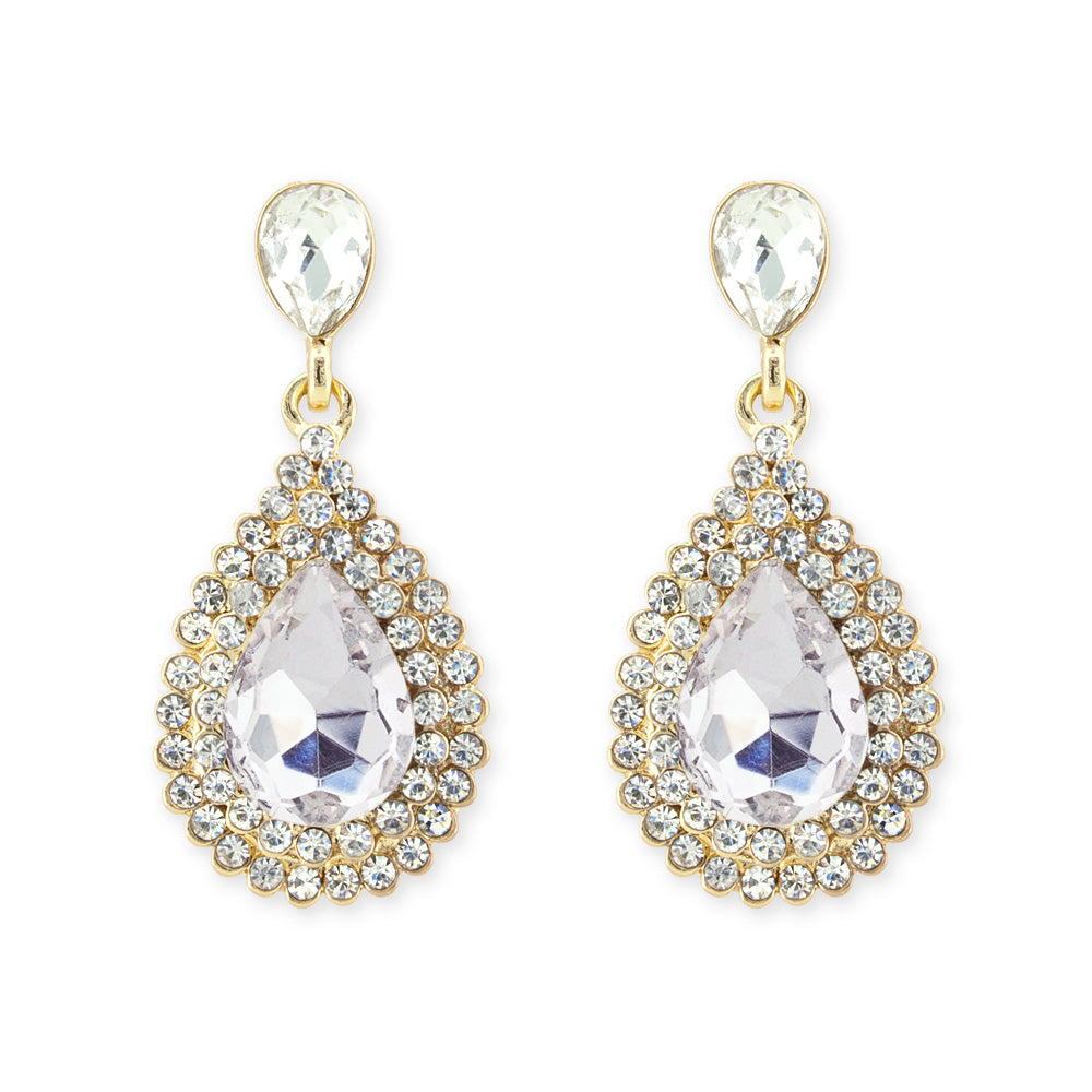 Rhinestone teardrop earrings gold