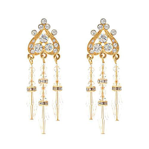 Beaded Crystal Chandelier Earrings - gold