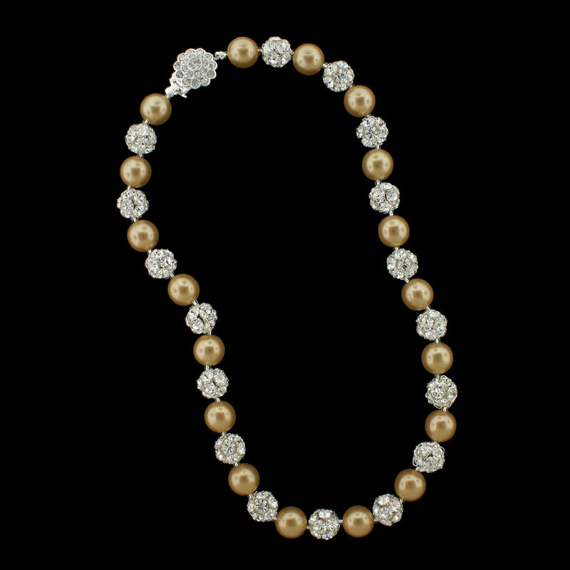 Gold pearl and silver rhinestone bead necklace