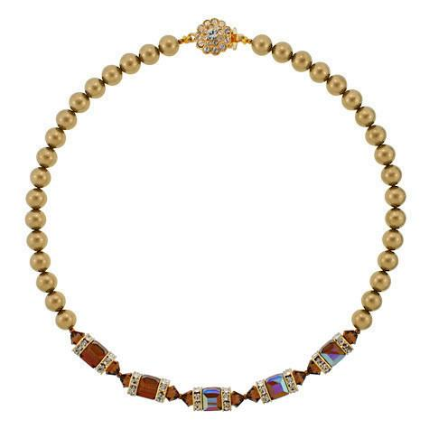 Brown Crystal & Gold Pearl Necklace