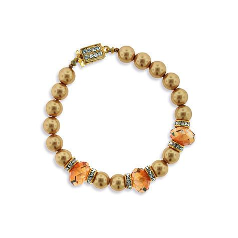 Beaded Pearl Bracelet with Orange Crystals