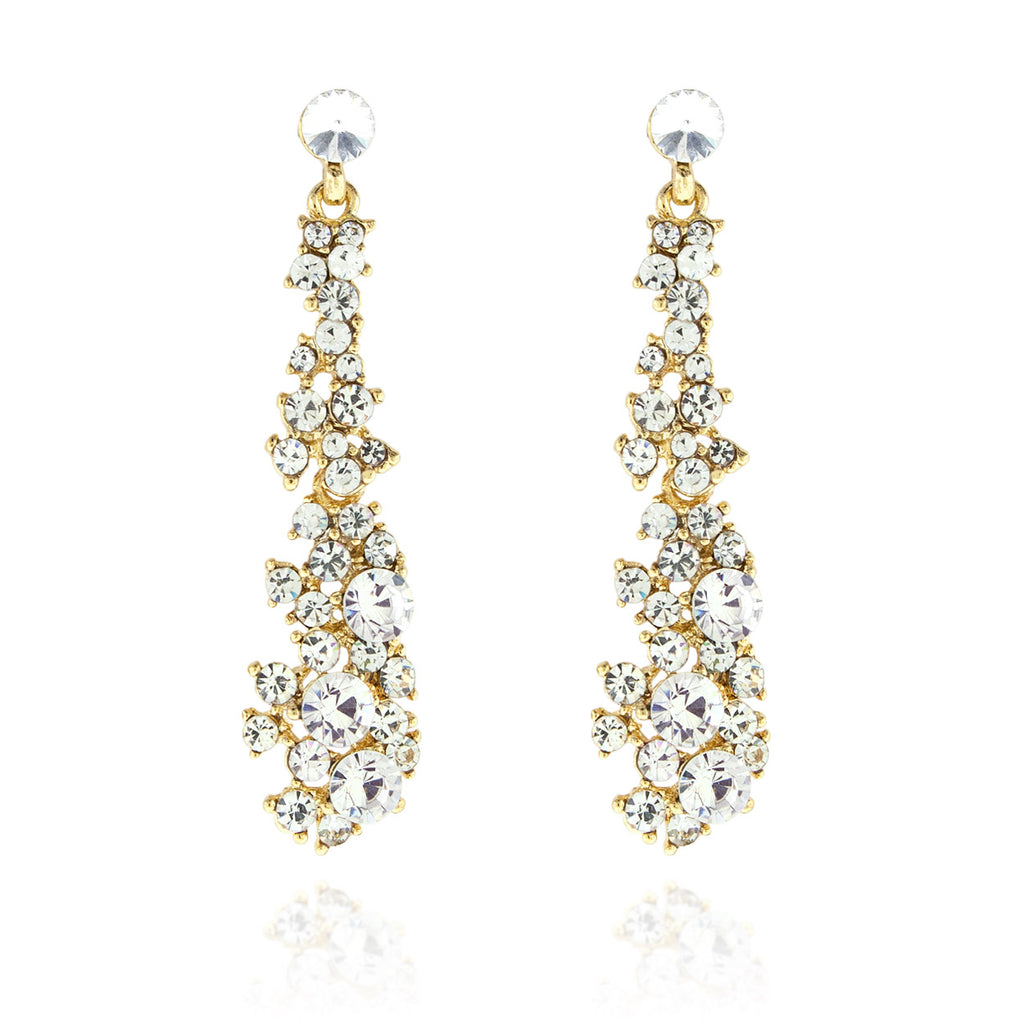 Abstract Rhinestone Statement Earrings - gold