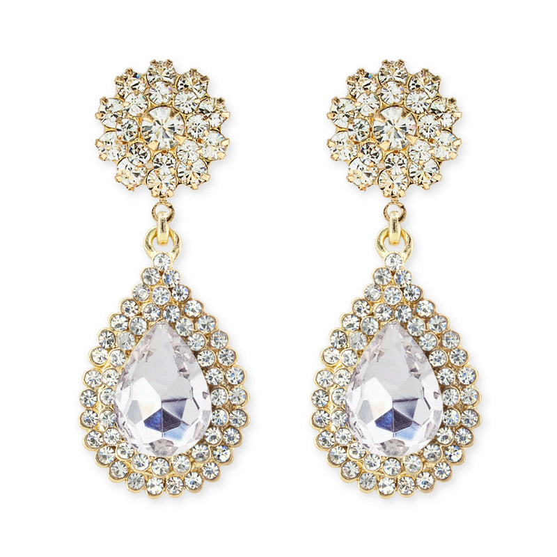 Rhinestone teardrop earrings with flower top - gold