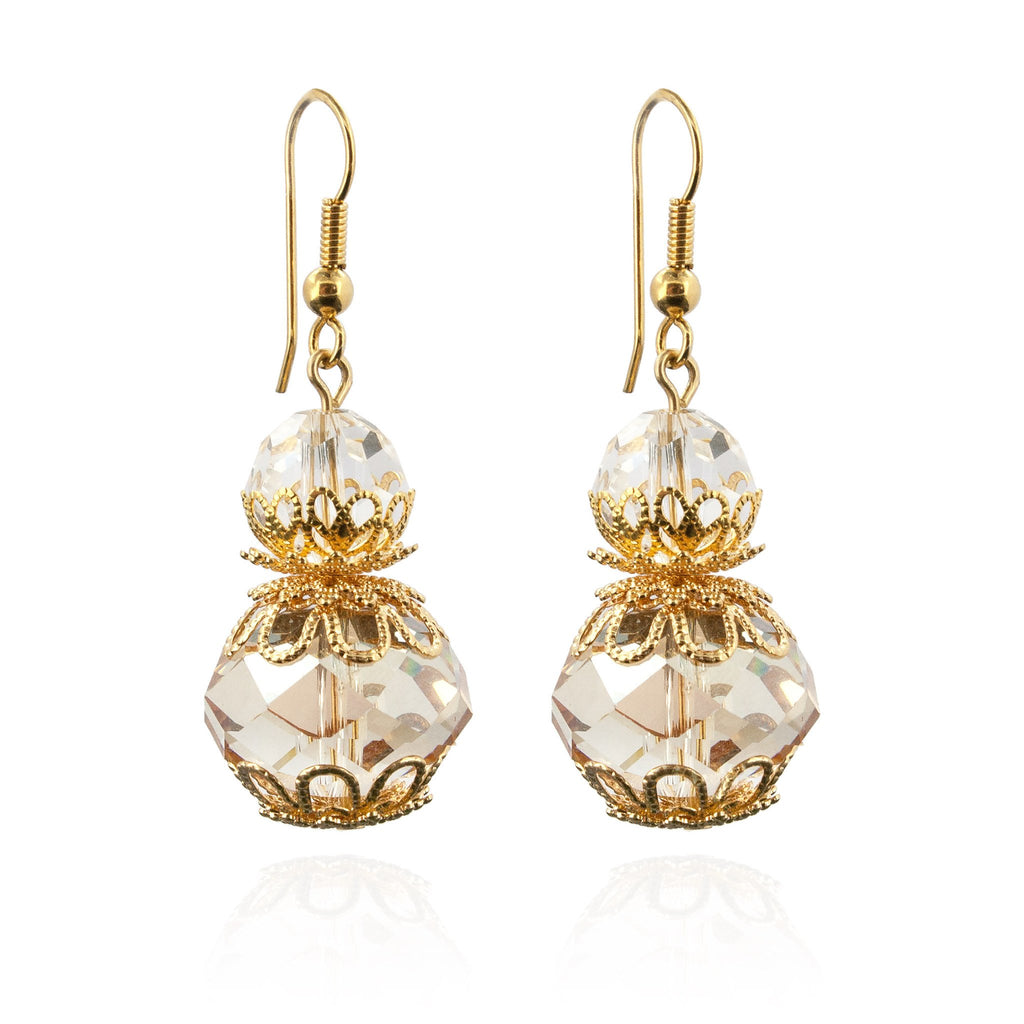 Champagne beaded drop earrings with filigree accents