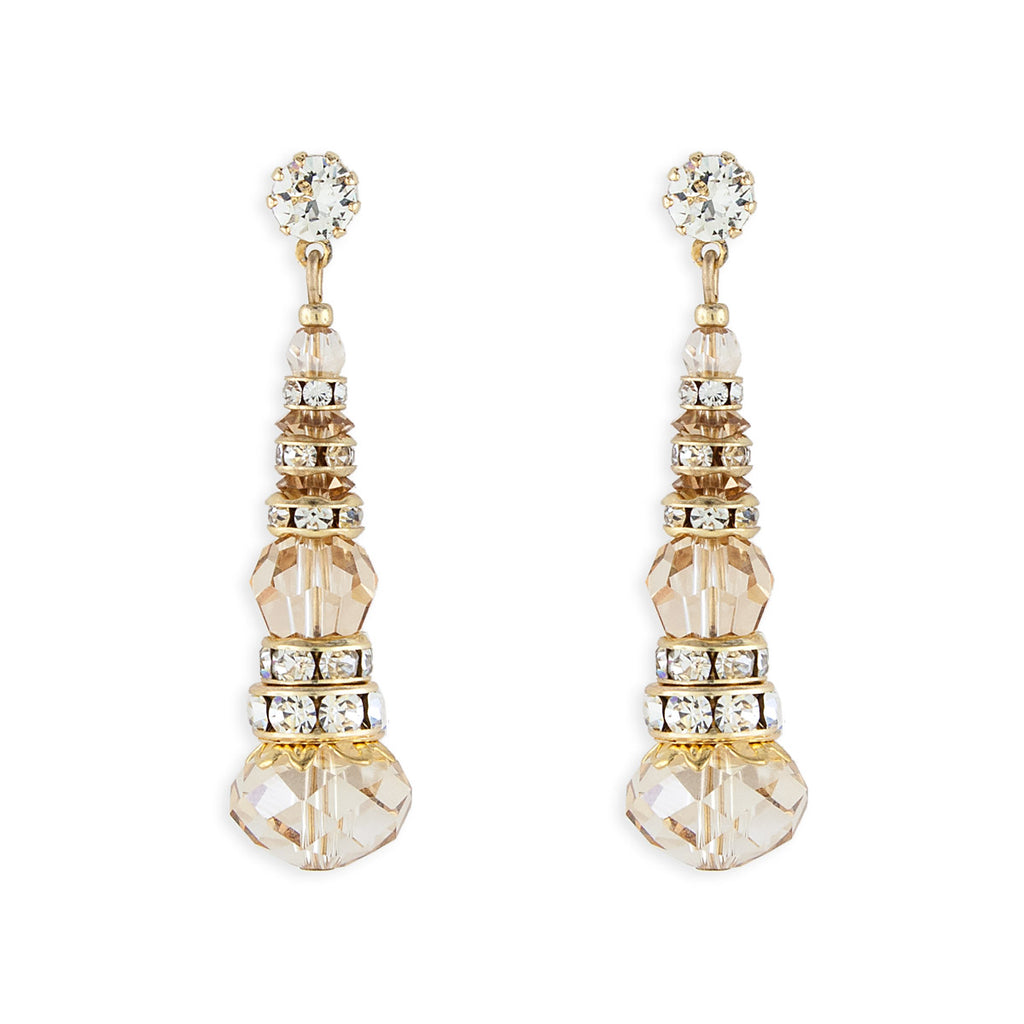 Crystal & Rondelle Beaded Drops - amber