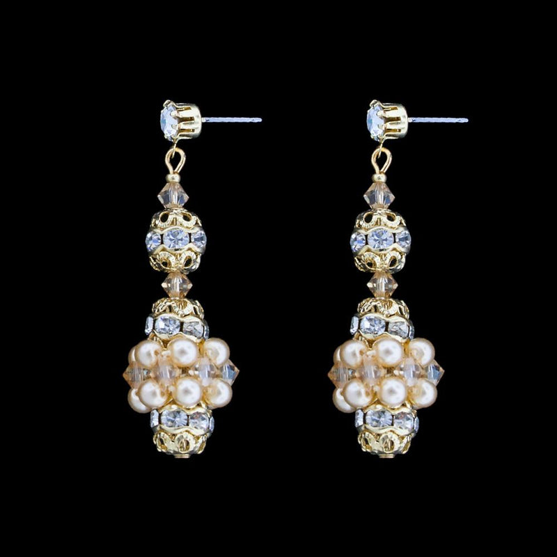 Pearl & Crystal Bridal Earrings - antique pearls