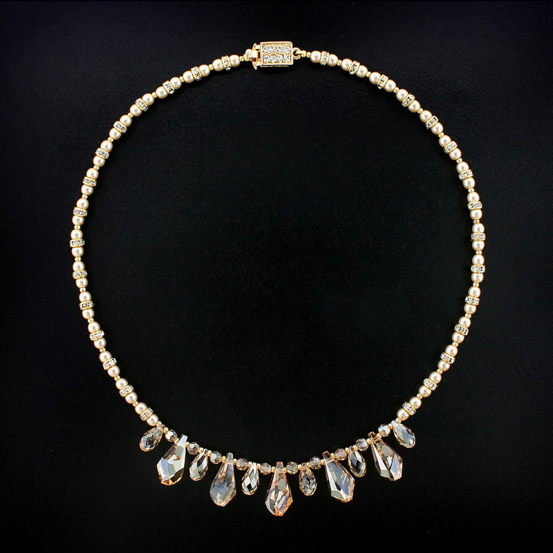 Multi-Drop Crystal Necklace with Pearls - champagne