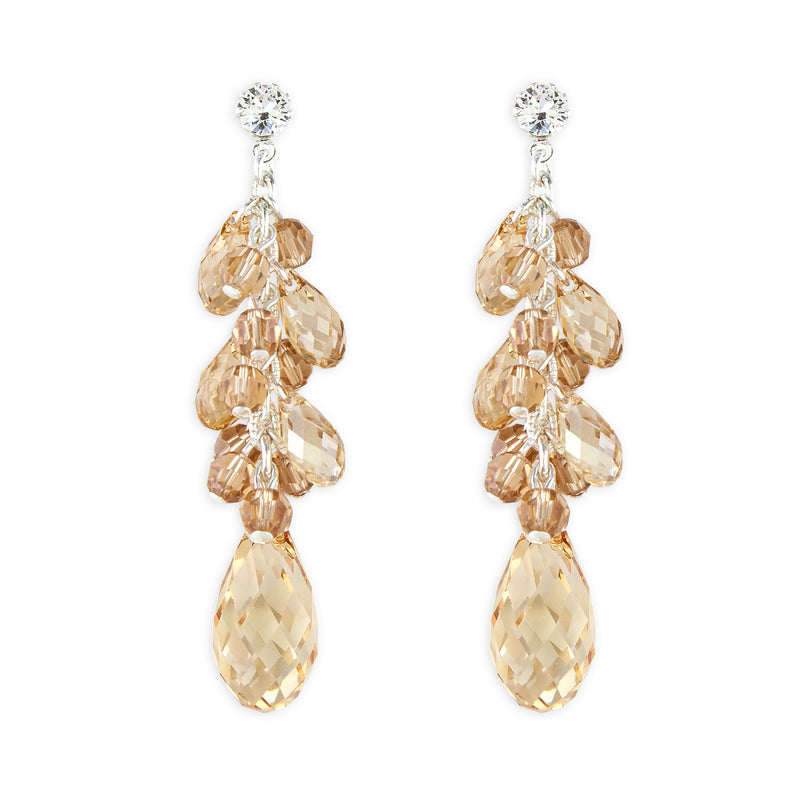 Amber Clustered Briolette Drop Earrings