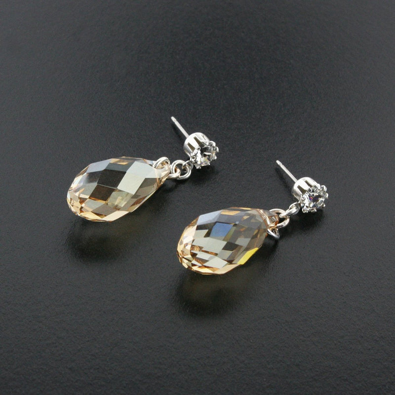Briolette Crystal Drop Earrings - Amber