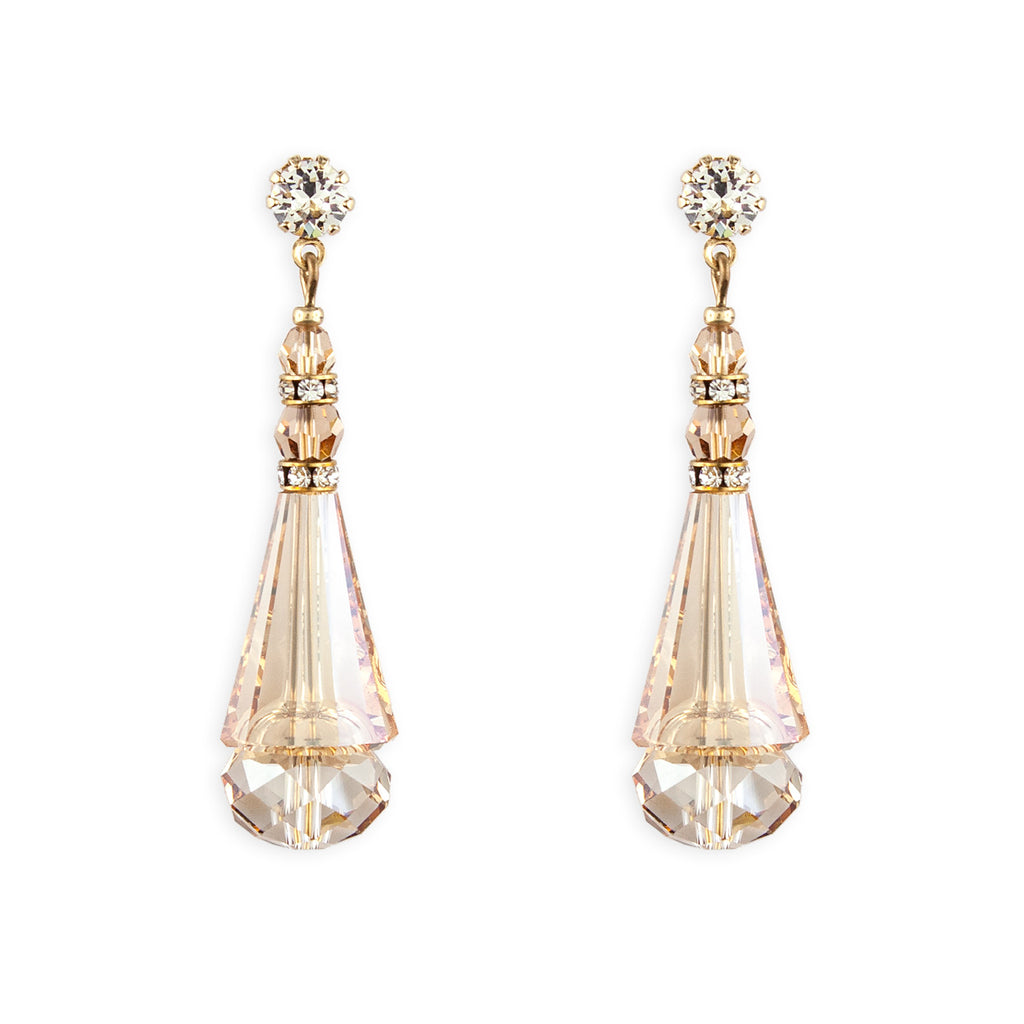 Crystal Cone Earrings - amber, gold