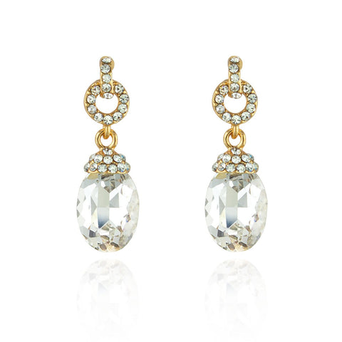 Oval Crystal Drop Earrings