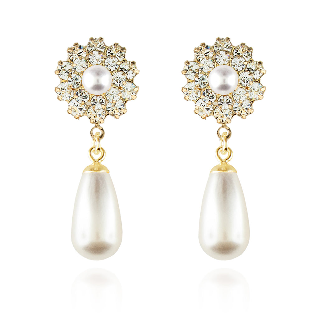 Pearl Teardrop Earrings - Gold