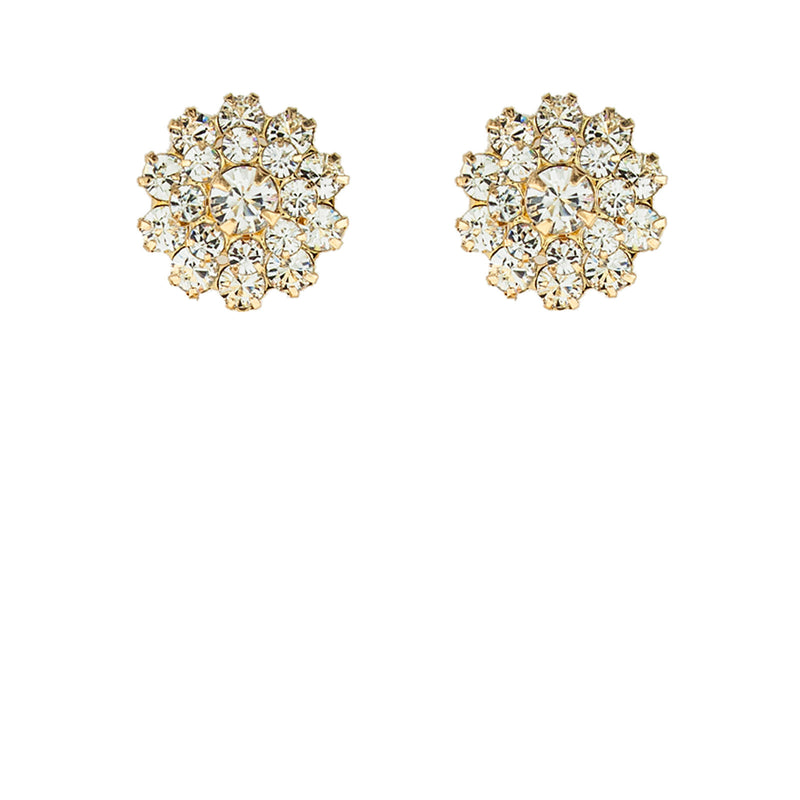 multi-stone crystal stud earrings - gold