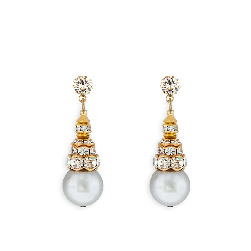 Grey Pearl Earrings with Gold Accents - Variation 3