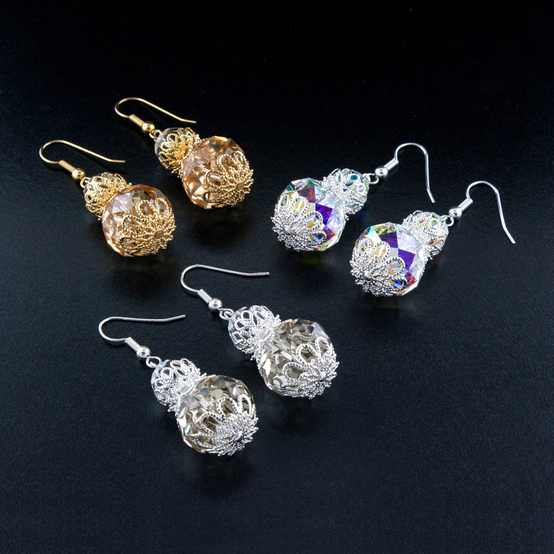 Beaded crystal drop earrings with filigree accents