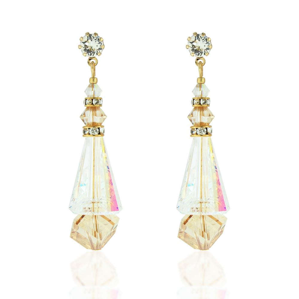Multi-Color Crystal Cone Earrings