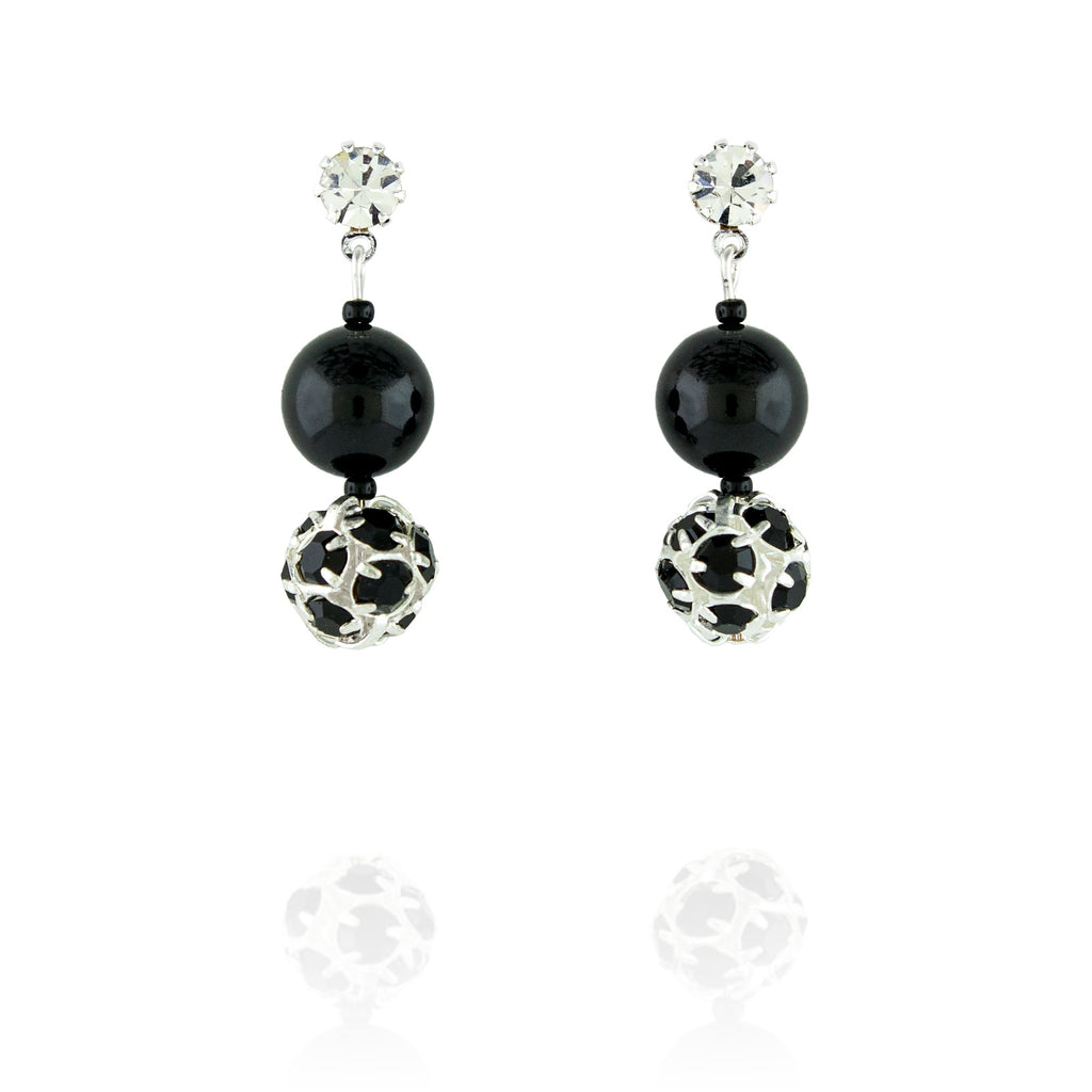 Black Pearl & Rhinestone Bead Earrings - short