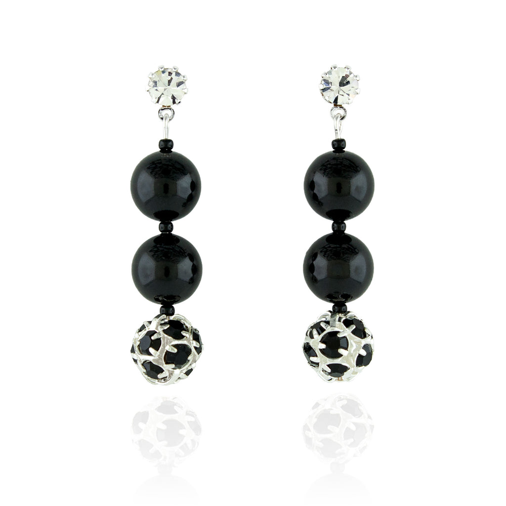 Black Pearl & Rhinestone Bead Earrings