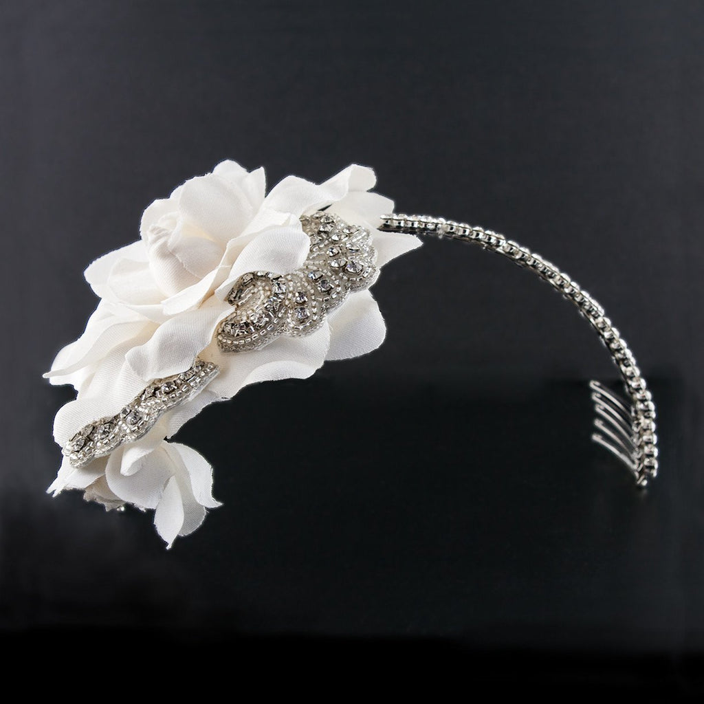 Dramatic Bridal Headband with Silk Flower