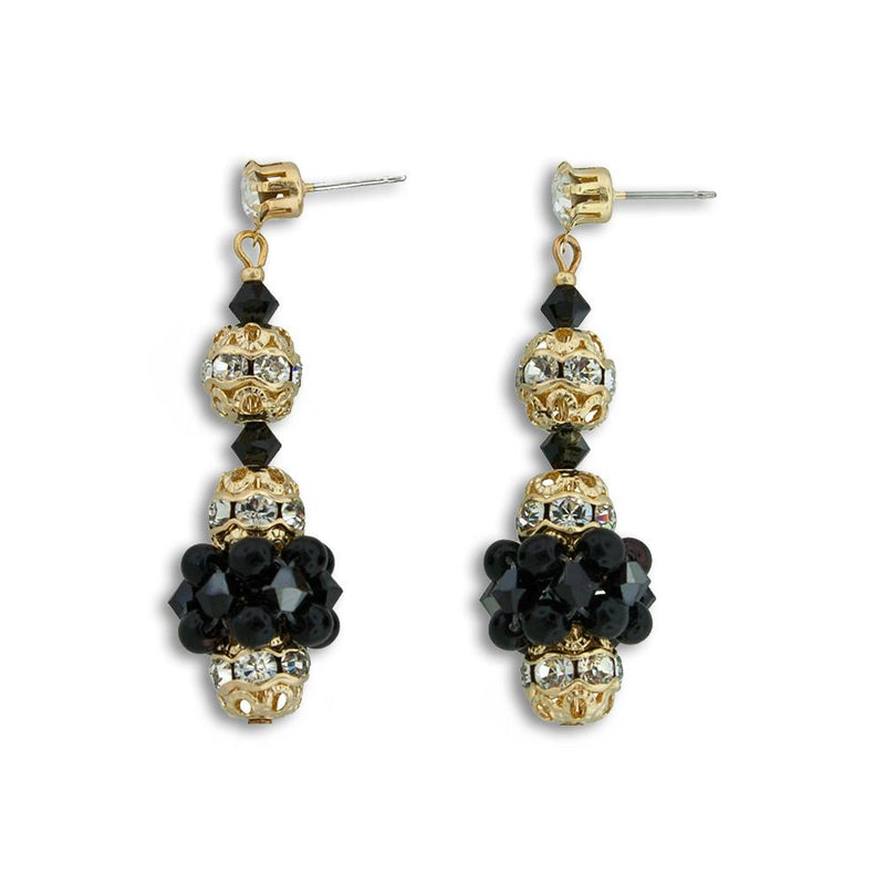 Pearl & Crystal Bridal Earrings - black