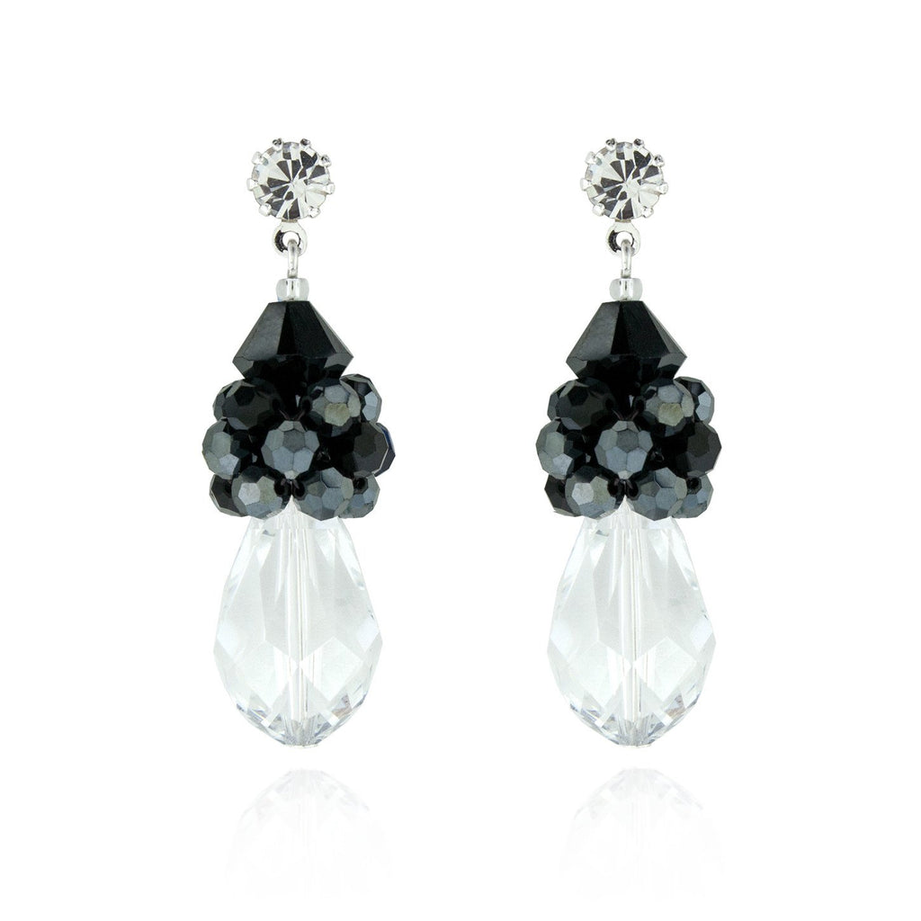 Crystal cluster teardrop earrings - black