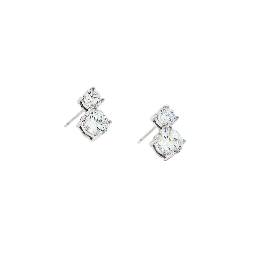 2 Stone CZ Earrings