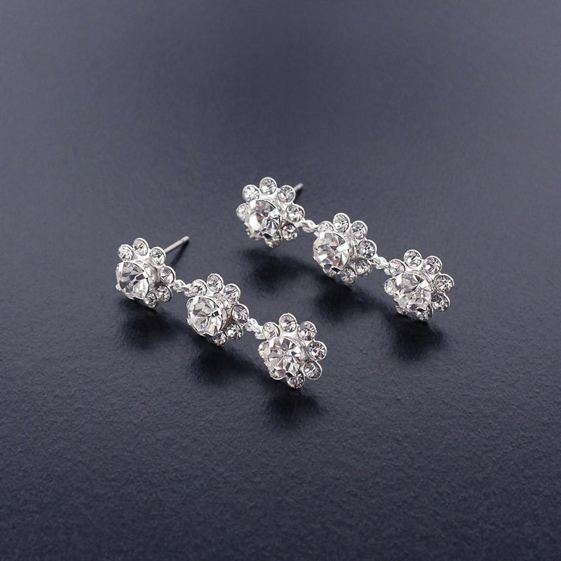 3 flower rhinestone drop earrings