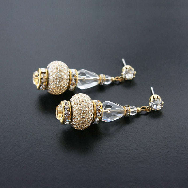 Crystal Drop Earrings with Pavé Charms - gold