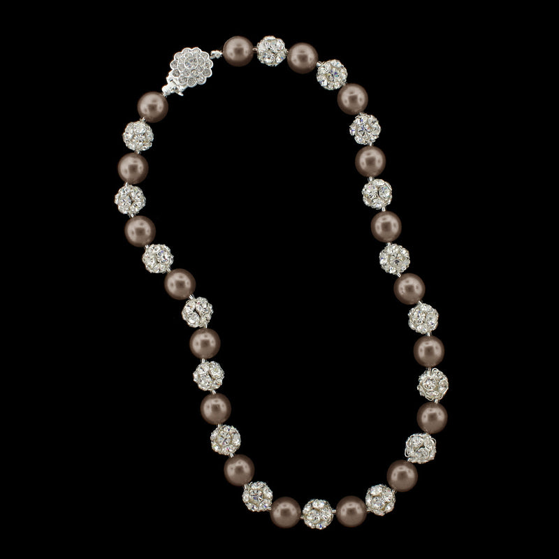 Light brown pearl and silver rhinestone bead necklace