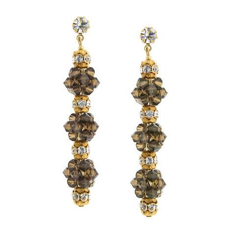 Champagne 3 cluster earrings