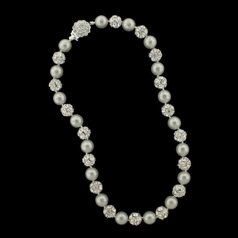 Light grey pearl and silver rhinestone bead necklace