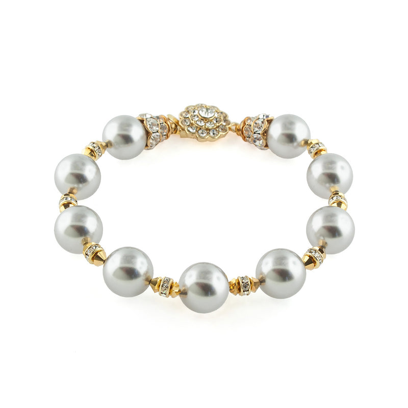 Grey Bracelet with Crystal Embellishments