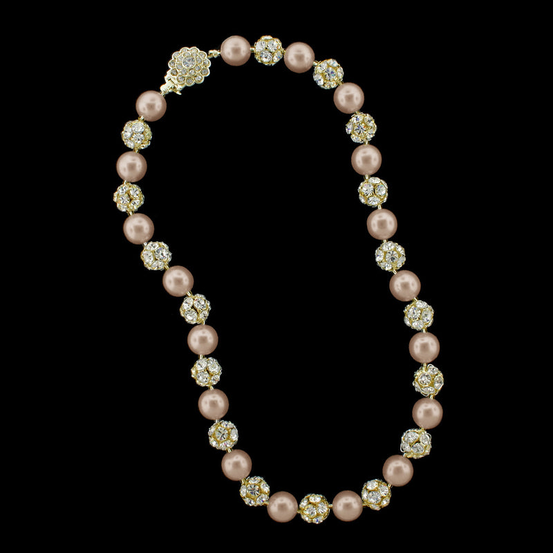 Light rose pearl and gold rhinestone bead necklace