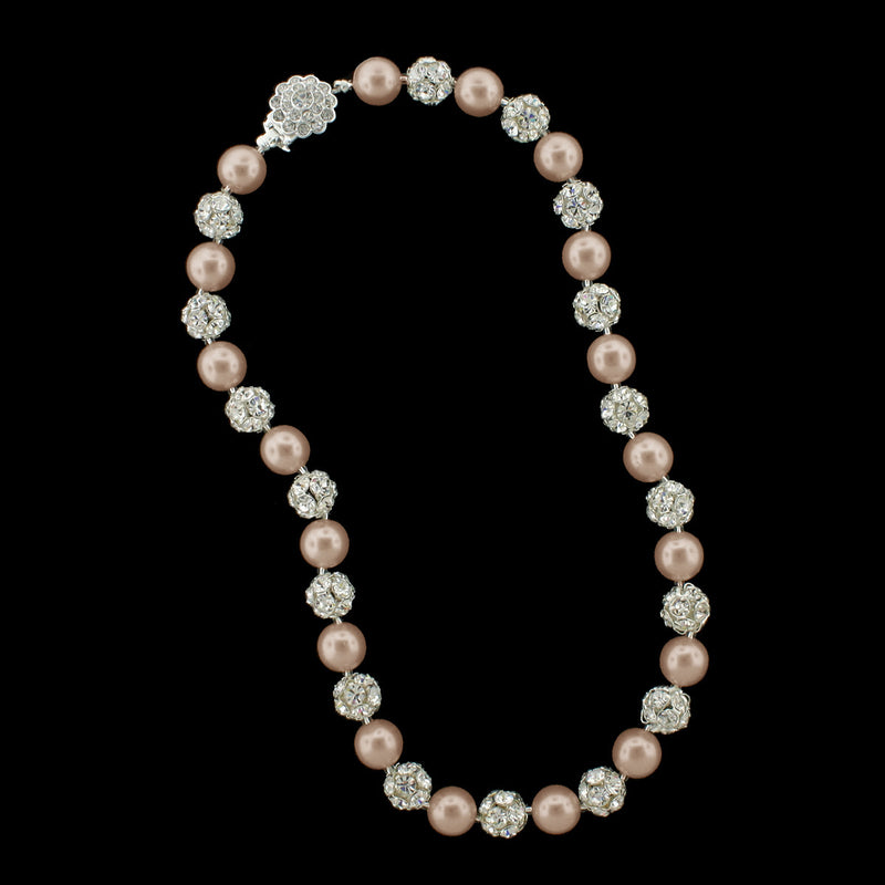 Light rose pearl and silver rhinestone bead necklace