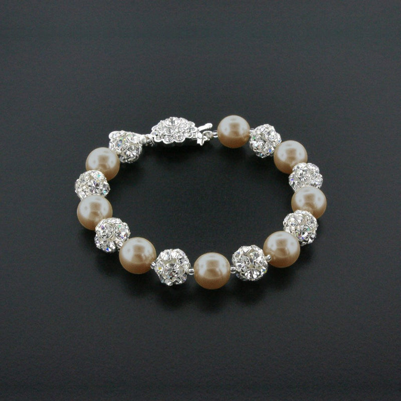 light brown pearl bracelet with rhinestone beads