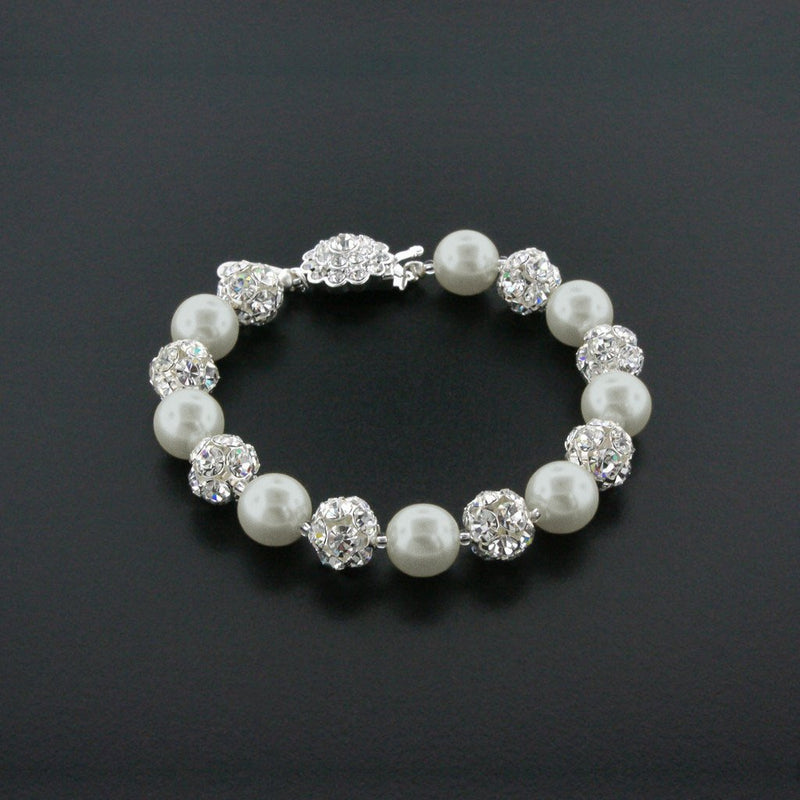 light gray pearl bracelet with rhinestone beads
