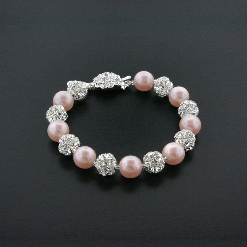 light rose pearl bracelet with rhinestone beads